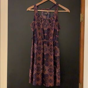 Coral and navy summer dress